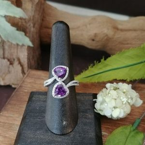 Jewelry - Double Heart African Amethyst Ring